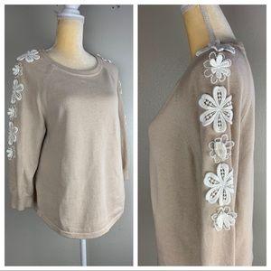 J. Crew Cream Floral Stitched Sweater M